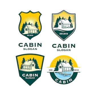 Set of cabin house logo template