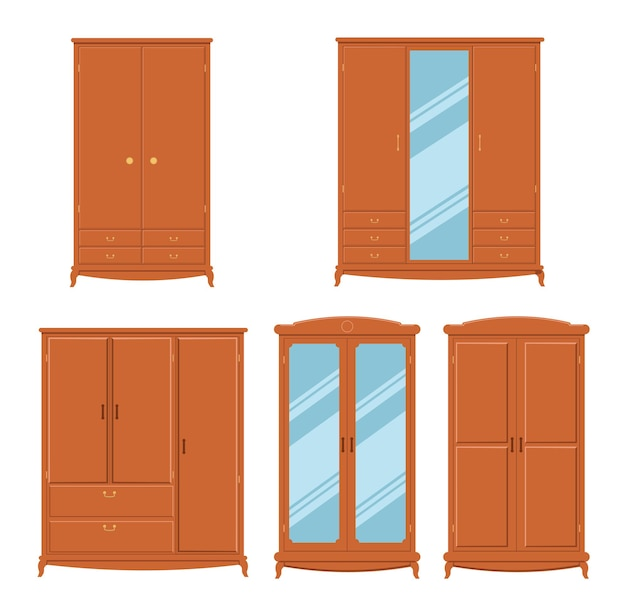 Set of cabinets hallways wardrobes storage of clothes cozy home furniture with doors and drawers