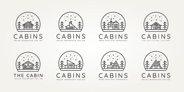 Set of cabins minimalist line art icon logo template vector design illustration
