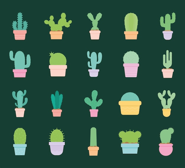 Set of cactus icons over a green illustration design