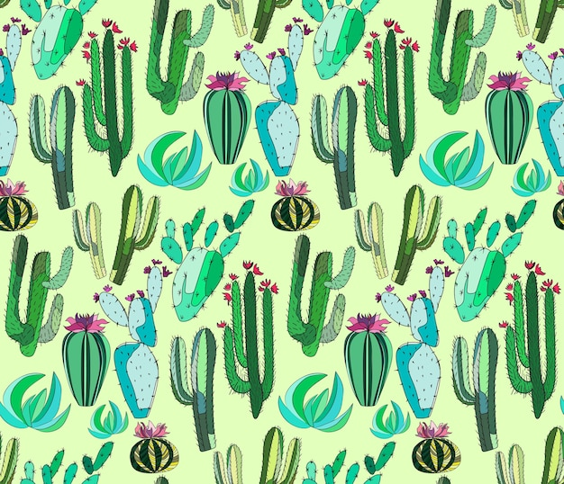 Set of a cactus paint like child on light green background