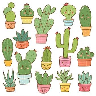 Set of cactus plant in kawaii