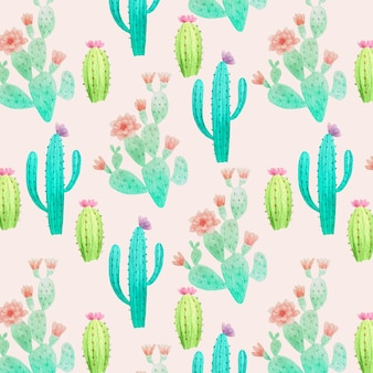Set of cactus plants pattern