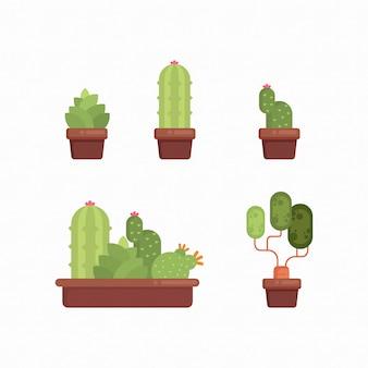 ポットコレクションイラストにサボテン多肉植物緑植物を設定します。