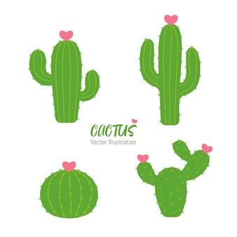 Set of cactus with flower in the shape of a heart