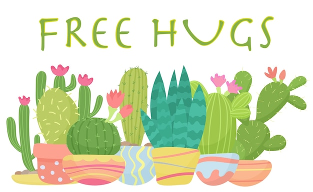 Set of cactus with free hugs lettering  illustration