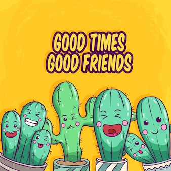 Set of cactus with funny face by using colored hand drawn style on yellow background