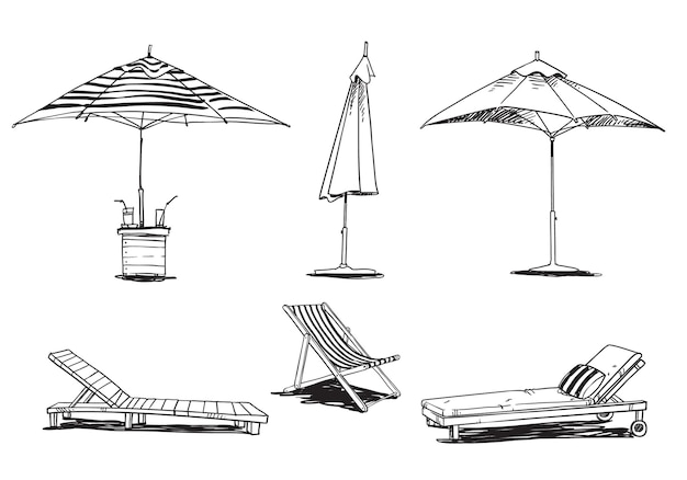 Set of caise lognue chairs  and umbrellas, pool and beach  furniture vector line drawing