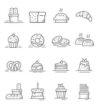 Set of cake and bakery icons with outline style
