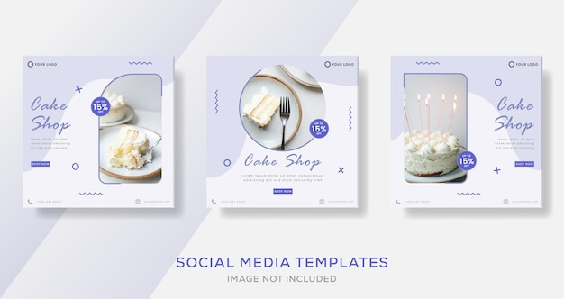 Set of cake banners post template with sweets
