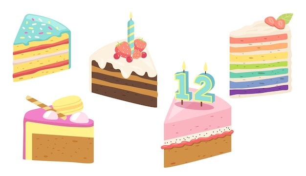 Set of cake, birthday dessert pieces with candles, fruits or berries. confectionery sweet production pies, pastry, chocolate bakery or patisserie. sweet cupcake with cream. cartoon vector illustration