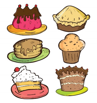 Set of cake in doodle style