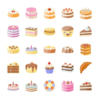 Set of cake flat vector icons