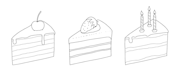 Set of cake pieces with cherry strawberry candles linear sketch doodle