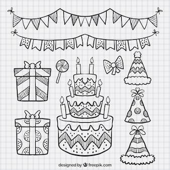 Serie di schizzi torta e gli elementi di compleanno