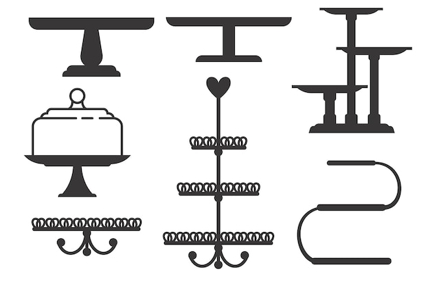 Set of cake stands in flat icon style. empty trays for fruit and desserts.