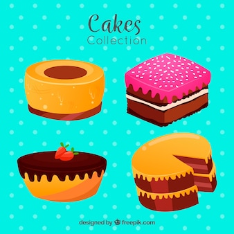Set of cakes in flat style