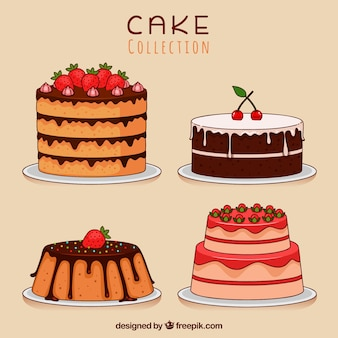 Set of cakes in hand drawn style