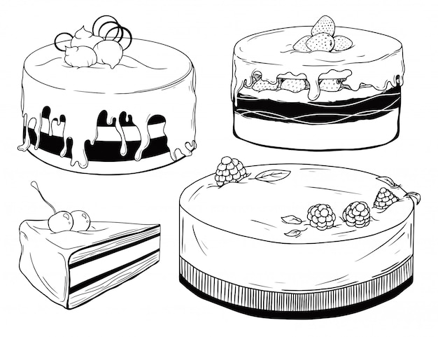 Set of cakes. sweets isolated on a white background.