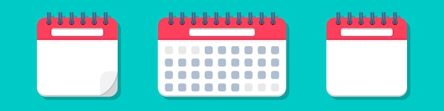 Set of calendar icon in flat style