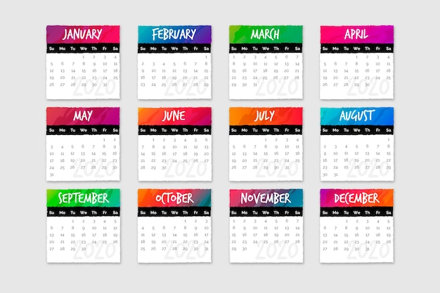 Set of calendars with months and days