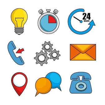 Set of call center support icon