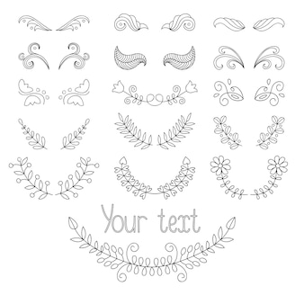 Set calligraphic design elements and page decoration with laurels, wreaths etc.