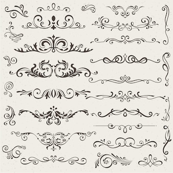 Set of calligraphic design elements and page decorations.