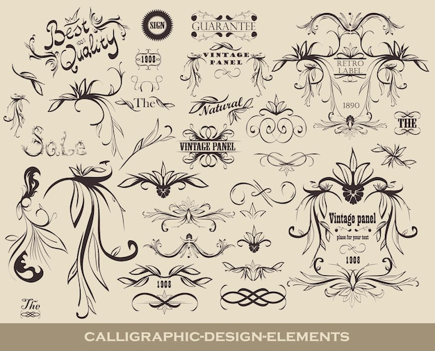 Set of calligraphic design elements with icons of quality and vintage frames.