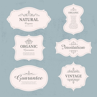 Set of calligraphic vintage labels and frames design elements