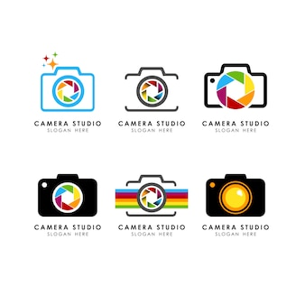 Set of camera logo template