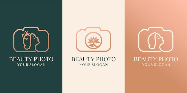 Set of camera, nature photo studio and beauty photo logo vector illustration