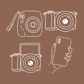 Set of camera photography, instant camera, phone and mirrorless doodle elements illustration