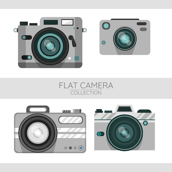 Set of cameras in flat design