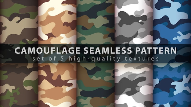 Set camouflage military seamless pattern