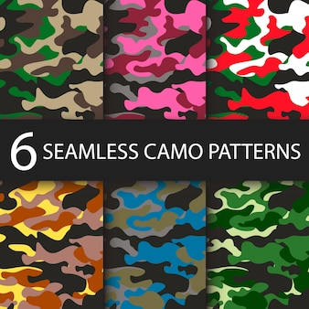 Set of camouflage seamless patterns background with black shadow. classic clothing style mask