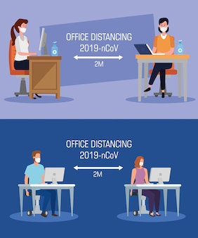 Set of campaign distancing social at office with business people vector illustration design