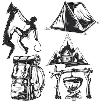 Set of camping elements for creating your own badges, logos, labels, posters etc.