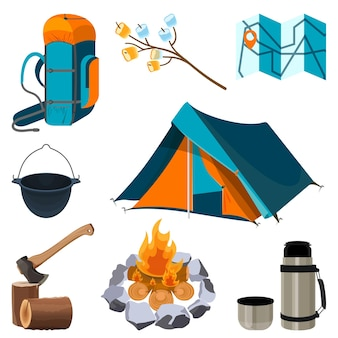 Set of camping elements isolated on white. vector illustration of touristic tent, bonfire, paper map, axe on trunk, sleeping bag, thermos bottle with hot drink and marshmallow on skewers