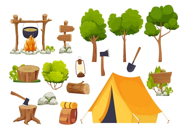 Комплект кемпингового снаряжения, палатки, фонаря, лопаты и топора, дорожный рюкзак, деревянное бревно и пень f