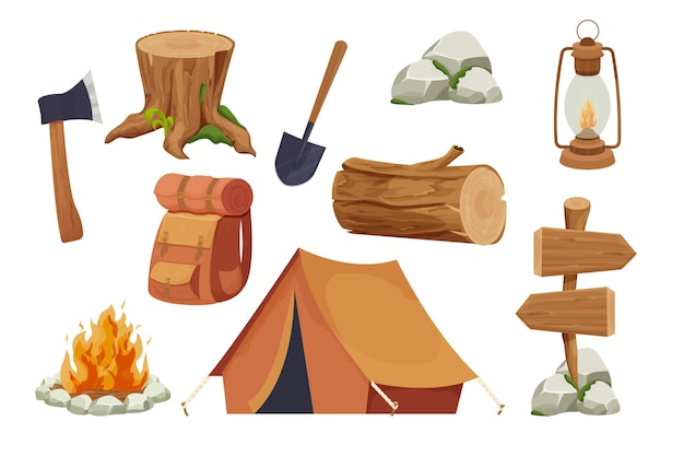 Set camping equipment campfire tent lantern shovel and axe travel backpack wood log and stump