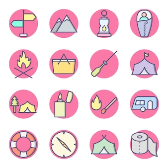 Set of camping icons isolated on white
