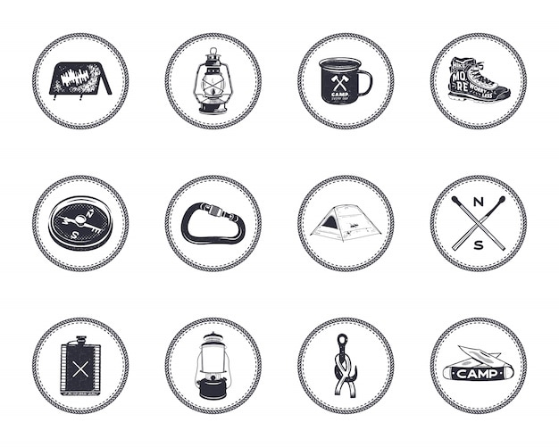 Set of camping icons and symbols