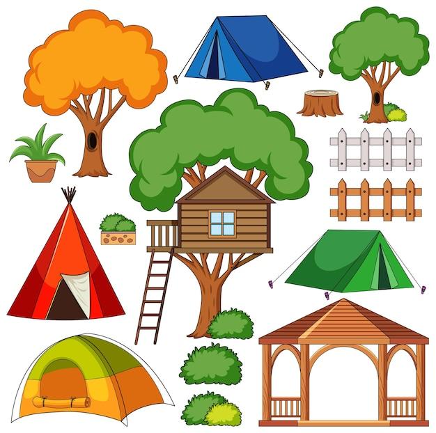 Set di oggetti da campeggio isolati