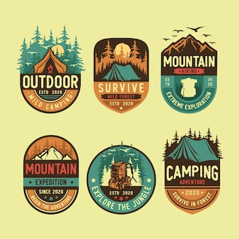 Set of camping and outdoor logo