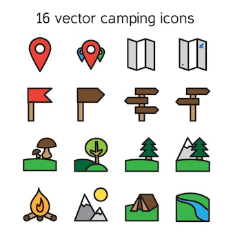 Set of camping traveling and nature icons