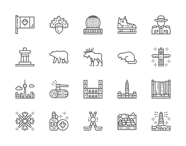Set of canadian culture line icons
