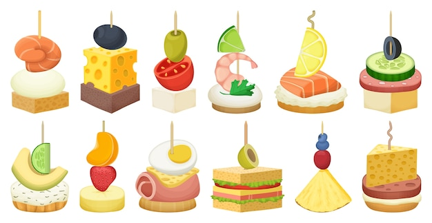 Set of canape and food isolated on white Premium Vector