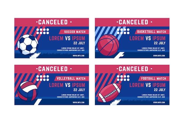 Set di banner di eventi sportivi cancellati
