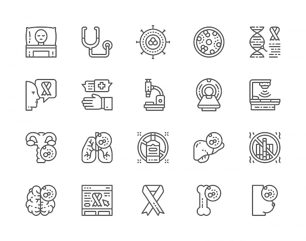 Set of cancer and chemotherapy line icons.